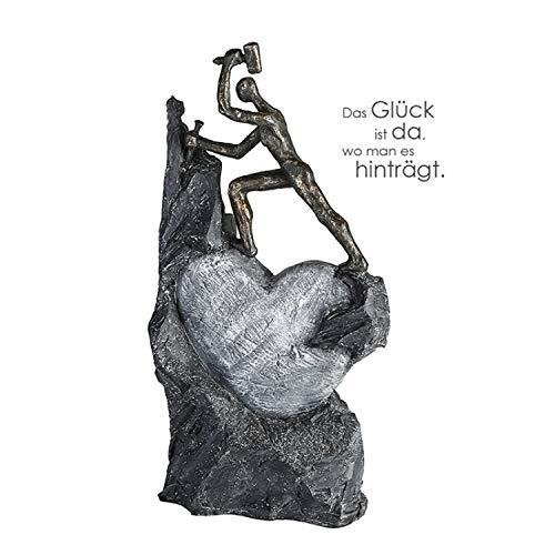 Casablanca - Skulptur - Dekofigur - Heart - Herz - Steinmetz - Poly - broncefarben - 37 x 19 cm