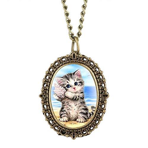 J-Love Precioso Reloj de Bolsillo con patrón de Gato Ovalado de tamaño pequeño, Elegantes Relojes de Mujer con Colgante de Collar, Reloj 2019, Regalos
