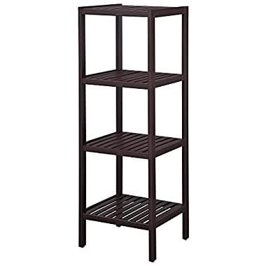 SONGMICS 100% Bamboo Bathroom Shelf Stand 4-Tier Multifunctional Storage Rack Shelving Unit 38 5/8'' x 12 7/8'' x 12 7/8''Brown UBCB54C