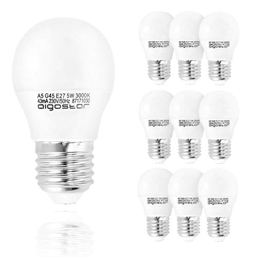 Aigostar - Bombilla LED A5 G45, E27, 5 W equivalente a 35 W, 400lm, Luz calida 3000K, no regulable - Pack de 5 [Clase de eficiencia energética A+]