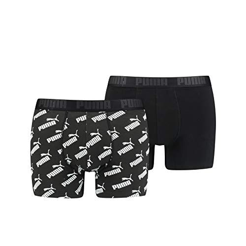 PUMA Men's All-Over-Print Logo Boxer (2 Pack) Ropa Interior, Negro, S para Hombre