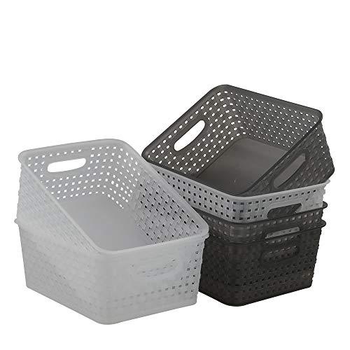 Nesmilers - Juego de 6 cestas de almacenamiento de plástico para baño