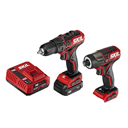 """SKIL 2-Tool Drill Combo Kit: Pwrcore 12 Brushless 12V 1/2"""" Cordless Drill Driver & Brushless 1/4"""" Hex Cordless Impact Driver, Includes 2.0Ah Lithium Battery & Pwrjump Charger - CB742901"""