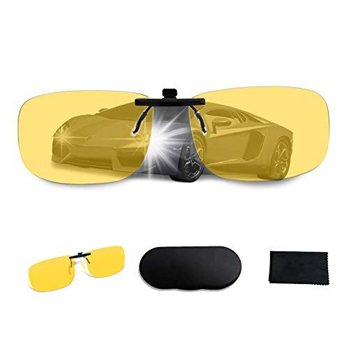 UpaClaire Night Vision Glasses Clip-on, Anti-glare High Definition Vision, foggy/rainy、used for safe driving/fishing glasses, reduce eye fatigue, ultra-lightweight for men and women