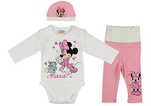 Disney Baby Mädchen Set Outfit 3-teiler mit Minnie Mouse in Gr. 56 62 68 74 80 86 Baumwolle süß für 6-12 12-18 18-24 Monate 1 Jahr Body Mütze Hose Farbe Modell 8, Größe 80