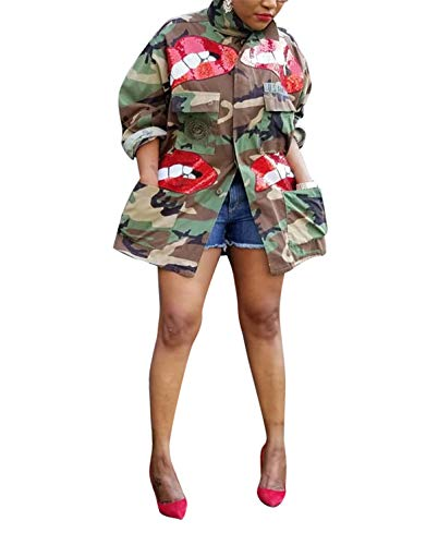 Womens Plus Size ins Fashion Slim Fit Military Camo Sequins Red Lips Printed Lightweight Outwear Coat Camouflage Longline Jacket Safari Jackets Party Clubwear 3XL