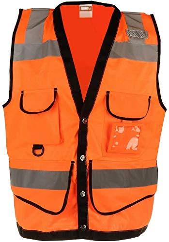 Hcxbb-a Hallo Vis Sicherheitsweste, Weste Zipper Warnweste Sicherheit orange, Sicherheit Reflektierende Arbeitskleidung Bomberjacke, Hallo-Vis-Reisen in der Nacht Sicherheit Unisex