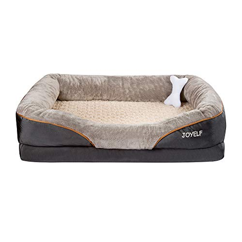 JOYELF XLarge Memory Foam Dog Bed, Orthopedic Dog Bed & Sofa with Removable Washable Cover and Squeaker Toy as Gift