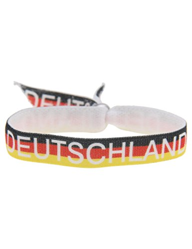 Leslii Unisex Stoff-Armband Fußball-Fan Deutschland-Flagge Damen Herren Fan-Schmuck Modeschmuck-Armband Schwarz Rot Gold