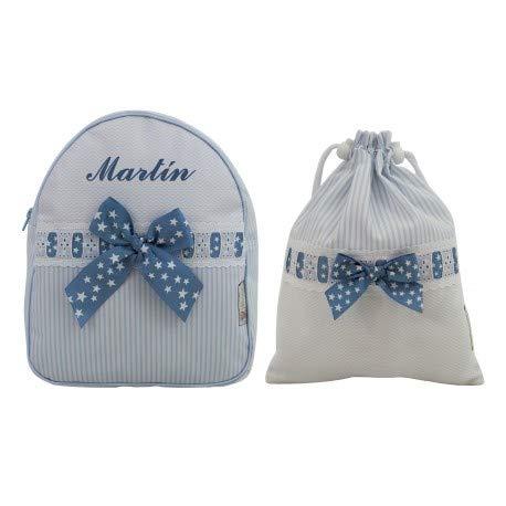 Conjunto guardería o Colegio: Mochila + Bolsa de merienda lenceras Personalizadas con Nombre en plastificado y Tela. Sabela (Azul)