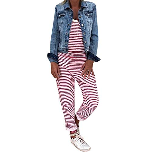Damen Latzhose Retro Lange Overall Größe Jumpsuit Plus Size Baggy Sommerhose-Freizeithose-Hosenanzug Gestreifte Ärmellos Mode Leinen Bein Hosenanzug Lange Ärmel URIBAKY