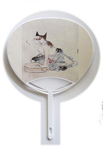 うちわ 浮世絵 歌川広重「猫の化粧」