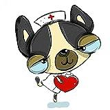 RUI RUI Lindo Perro de Dibujos Animados Enfermera Vinilo Coche Pegatina calcomanía Accesorios de Motocicleta Adorno de Ventana pVC15cmx13cm