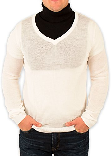 Men's Redneck Cousin V-Neck White Sweater with Black Dickey (Large)