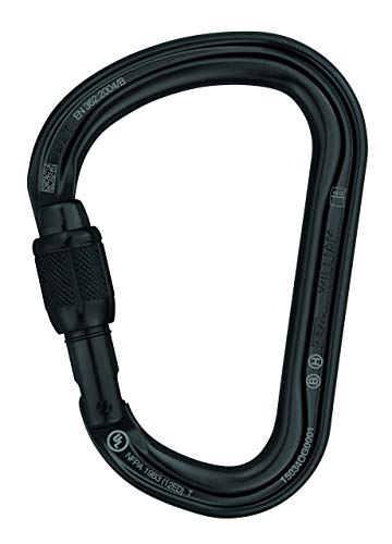 PETZL M36A SLN William Asymmetrical Large Capacity Aluminium Carabiner, Size: Screw-Lock, Black