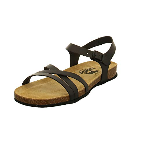 LONGO Damen 1008430 Schwarze Synthetik Sandale Größe 39 EU Schwarz (schwarz)
