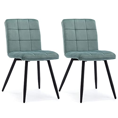 HNNHOME Juego de 2 sillas de comedor tapizadas Cubana, patas de metal de acero negro fuerte, silla de recepción para salón,...