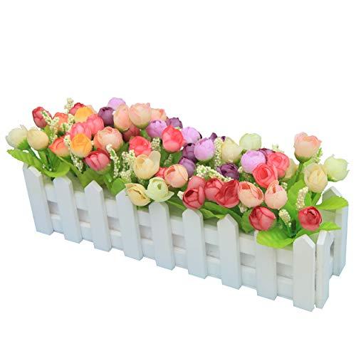 Flikool Artificielle Topiaire Pot Plantes Potted Plant Faux Artificiel Fleur Roses Truque Bonsai l'herbe Verte avec Cloture Decoration Ornements Maison Mariage Terrasse Jardin Deco - Mix