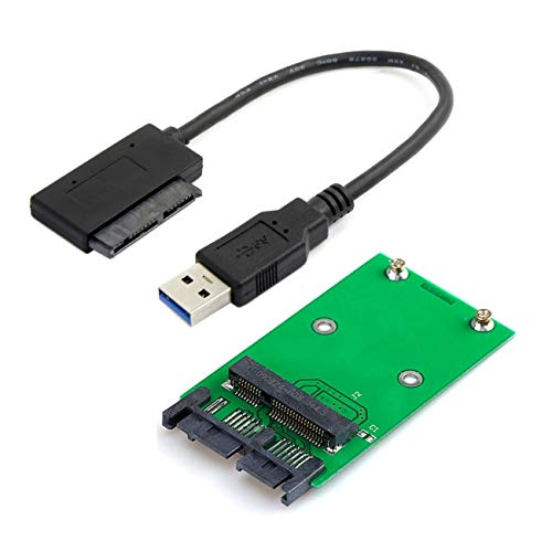Cablecc USB 3.0 a mSATA 50pin SSD y 1.8 pulgadas Micro SATA 7+9 16pin adaptador Añadir en tarjetas PCBA