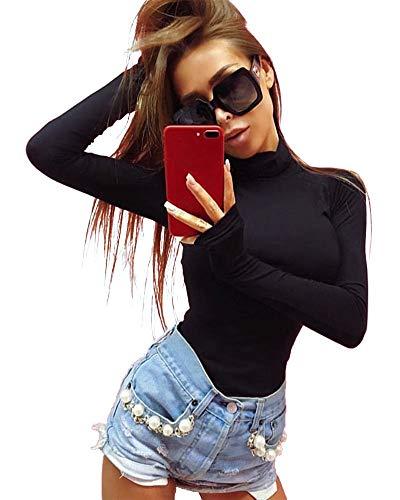 Body Ladies Elegante Manica con Corpo Lunga Dolcevita Casual Moderna Alta Primavera Autunno Indossare Pagliaccetto Wrap Body Fashion Body One Piece Young Fashion (Color : Nero, Size : S(B:74-88CM))