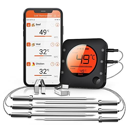 BFOUR Küche Bluetooth Thermometer Digitale Grillthermometer mit 6 Temperaturfühler Fleischthermometer mit Alarm Polierte Schale für Grill BBQ Freund Geschenk