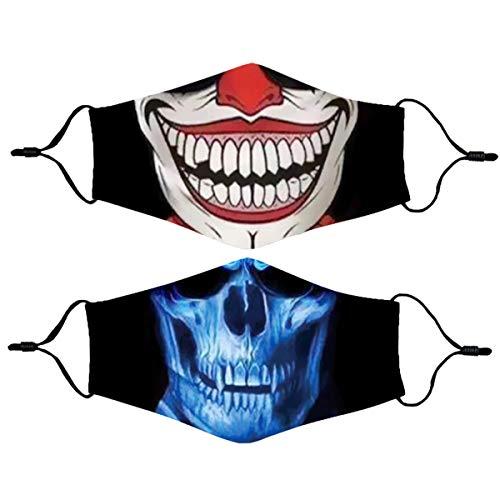Halloween Clown Face Mask Reusable for Women Men, Washable Breathable Designer Cloth Fabric Madks,Cubre Bocas Tapa para mascarillas de,Adult Earloop Mouth Nose Cover Cotton Fashion Skull