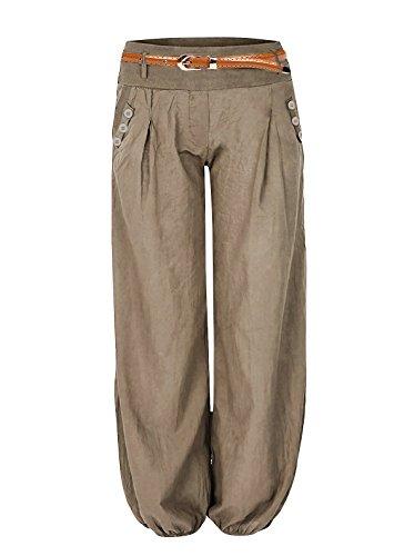 Cindeyar Damen Haremshose Elegant Winter Pumphose Lange Leinen Hose mit Gürtel Aladin Pants,1 Hosen+1 Gürtel (M, Khaki)