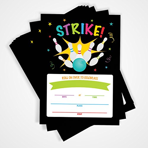 Bowling Party Invitation | 20 Invitations and Envelopes | Bowling Birthday Party Invitations, Ideas, and Supplies