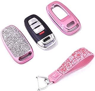 Royalfox(TM) 3 Buttons 3D Bling Smart keyless Remote Key Fob case Cover for Audi A3 S3 RS3 A4 S4 RS4 A5 S5 RS5 A6 S6 RS6 A7 S7 RS7 A8 S8 Q3 SQ3 Q5 SQ5 Q7 TT TTs TT RS (Pink)