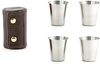 Kikkerland BA59 Shot Glasses with Leather CASE, Stainless Steel, Brown, One size