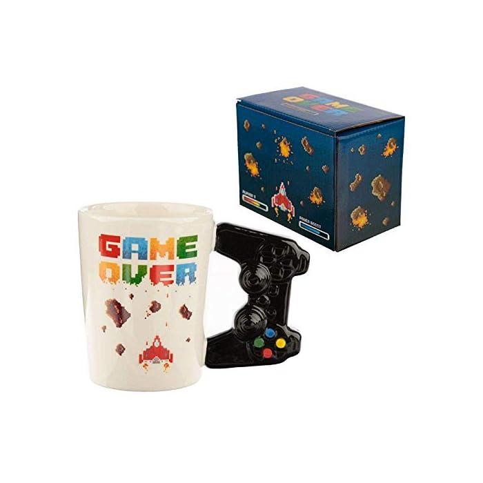 41RQnEUBboL Taza con mango en forma de controlador joystick - game over pixellato Multicolor Alto 11cm ancho 14.5cm profundidad 8.5cm