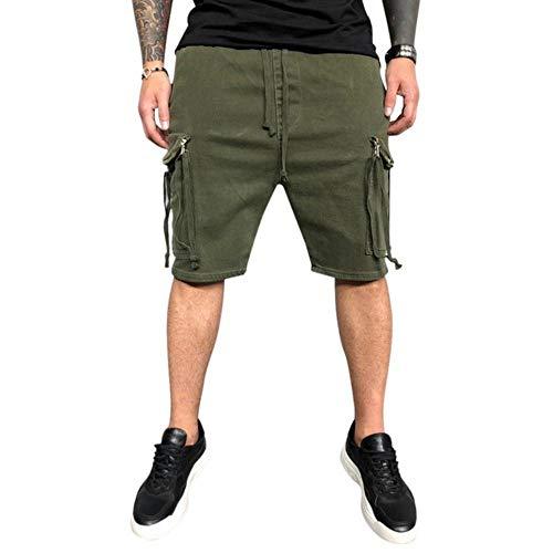 OKM, pantaloncini estivi da uomo al ginocchio in cotone con coulisse elastica in vita, tasche laterali da uomo Colore 2 Taglia Asiatico XXXL
