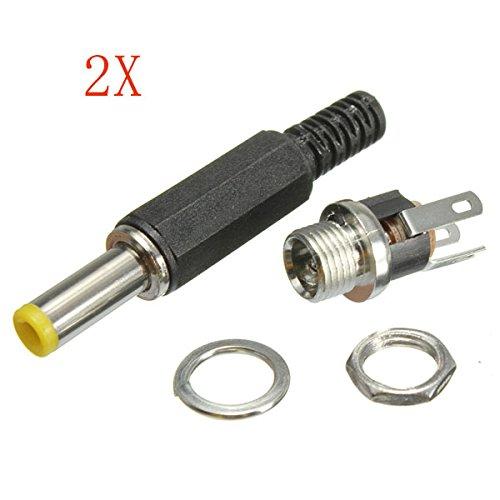 JenNiFer 2X 2,1 Mm X 5,5 Mm Dc-Steckverbinder, Männlicher Stecker Und Weibliche Einbausteckdose
