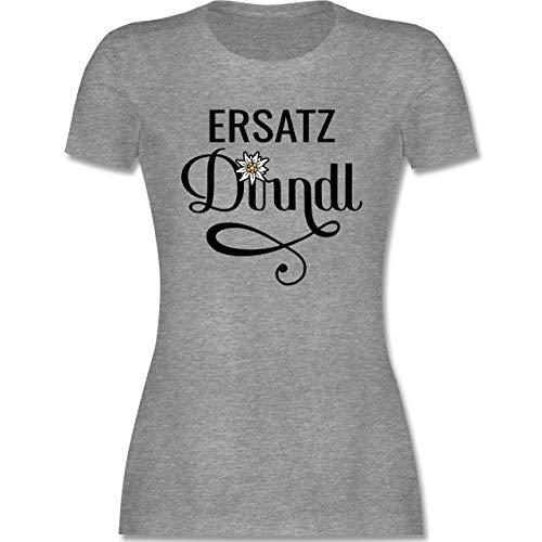 Oktoberfest & Wiesn Damen - Ersatz Dirndl mit Edelweiß - M - Grau meliert - Oktoberfest - L191 - Tailliertes Tshirt für Damen und Frauen T-Shirt