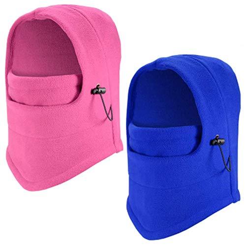 2 Piezas Pasamontañas, NALCY Balaclava Capucha Unisex Multifunción Máscara Protector Sombrero para Invierno Ciclismo Moto Deporte Esquí al Aire Libre Sombrero(Rojo,Azul)