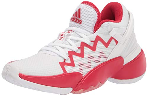 adidas unisex adult D.o.n. Issue 2 Basketball Shoe, White/Scarlet/White, 11 M US
