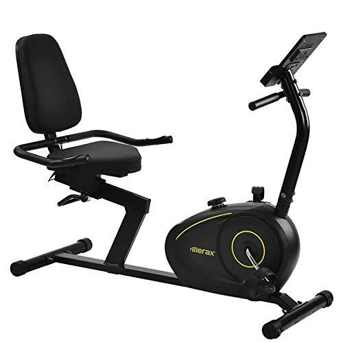 Medidor de tumbona, bicicleta estática, 8 niveles de resistencia ajustables, sensores de pulso y pantalla LCD, Bluetooth y aplicación libre.