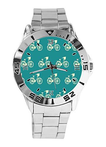 VVintage Fahrrad-Armbanduhr, Sport-Uhr für Damen, lässig, Edelstahlarmband, Analog, Quarz-Armbanduhr