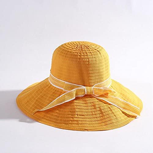 Geekcook Sombrero cordobes Mujer,2021 Primavera y Verano Sra Lavado Grande Lavado Plegable Sombrilla Sombrilla Sombrilla Sombrilla-Amarillo_Código