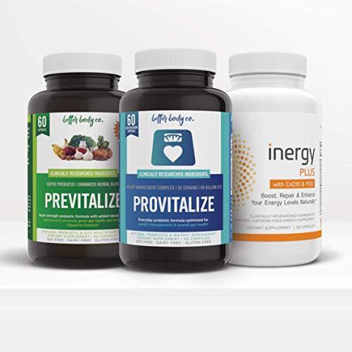 Menokit   100% Natural Blend of Probiotics, Prebiotics & Adaptogens   Supplement for Menopausal Women by Better Body Co.   Combat Weight Gain, Fatigue, Mood Swings, Brain Fog & Low Energy   3 Bottles