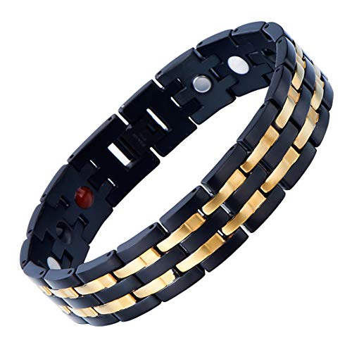 COOLSTEELANDBEYOND Exquisite Stainless Steel Mens Bracelet Gold Black and Free Link Removal Tool