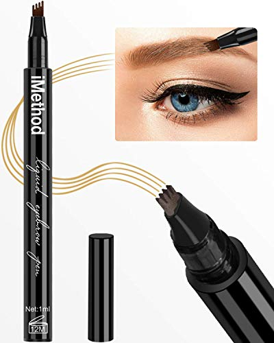 iMethod Eyebrow Pen - iMethod Eye Brown Makeup, Eyebrow Pencil with a Micro-Fork Tip Applicator Creates Natural Looking Brows Effortlessly and Stays on All Day, Light Brown