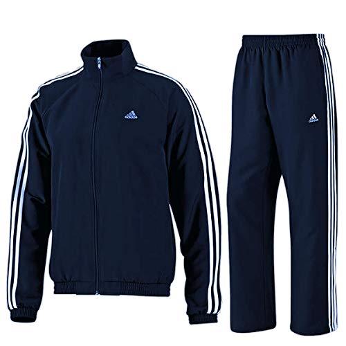 adidas 3S Essential Logo Trainingsanug Track Suit Jogginganzug Navy Jacke Hose, Größe:M, Farbe:Navy