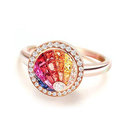 Daesar Donne Anelli 18K Oro Rosa 0.86ct Arcobaleno Gioiello Fidanzamento Mosaico Circolare Promessa Anello Formato 17