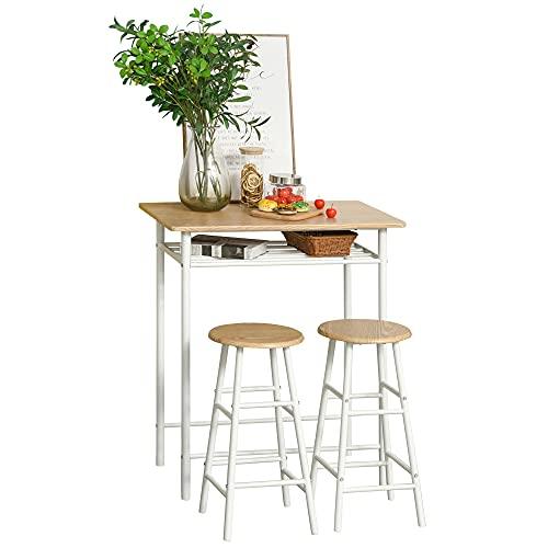 HOMCOM Bartisch mit Stuhlset mit Rutschfester Fußmatte Küchentisch und Stühle Stehtisch und Barhocker mit Lagerregal MDF-Platte Stahl Weiß+Eiche 80 x 50 x 90 cm