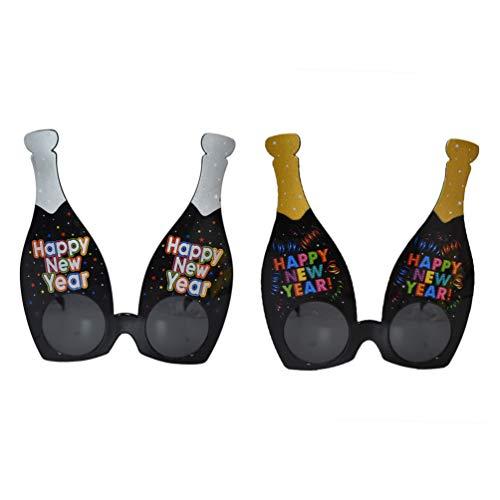 STOBOK 2 Piezas Glitter Fiesta de ao Nuevo Gafas Botella de Cerveza Botella de champn Disfraz Prop Fiesta favorece Gafas Foto Accesorio para decoracin Barra de ao Nuevo / Dorado y Plateado