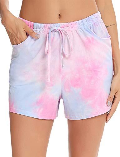 EISHOPEER Women's Tie Dye Pajama Shorts Bottoms for Sleep Drawstring Exercise Gym Running Pink M