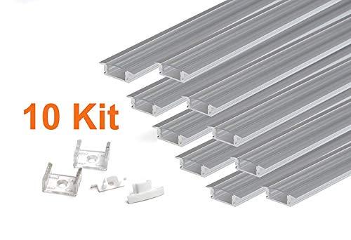 KingLed –KIT 10 perfiles aluminio empotrado