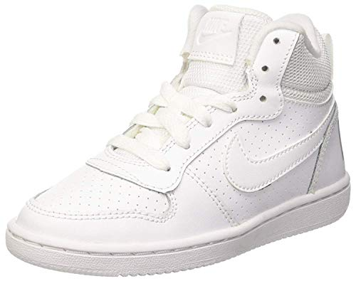 Nike Court Borough Mid (GS), Zapatillas de Baloncesto para Niños, Blanco (White/White-White 100), 38.5 EU
