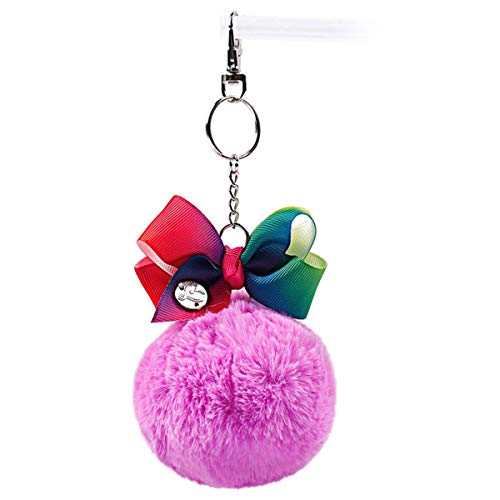 1Piece Pelz-Ball-Haar-Seil mit Band-Regenbogen-Druck-Bogen Keychain Schlüsselanhänger